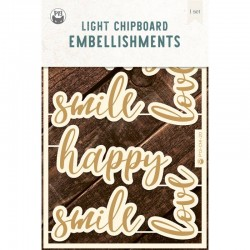 P13 - LIGHT CHIPBOARD EMBELISHMENTS SET WORDS 01