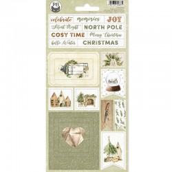 P13 - COZY WINTER - CHIPBOARD STICKER SHEET, 10,5 X 22CM - PREVENDITA
